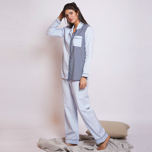 Women Cotton Notched Collar Pyjama Set