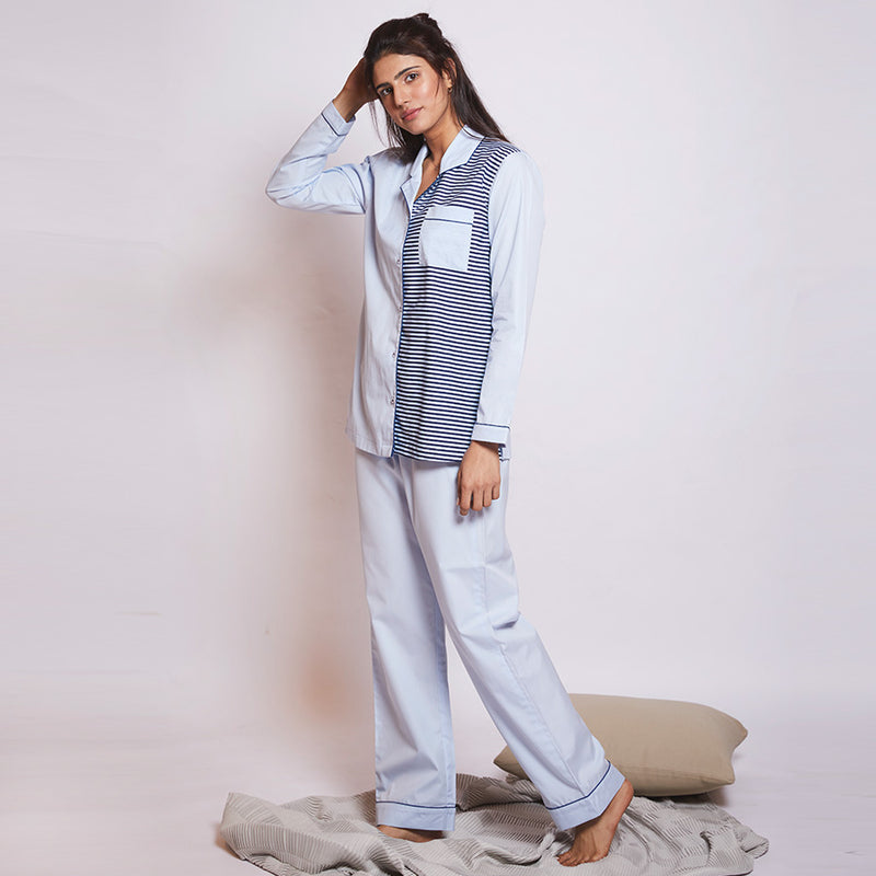 Cool Mint Cotton Notched Collar Pyjama Set
