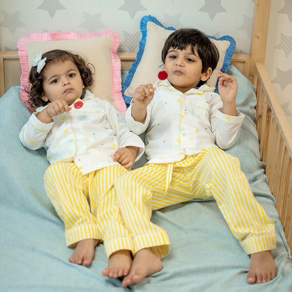 Dandelion- Cotton - White - Stars & Moon - Kids Pajama Set