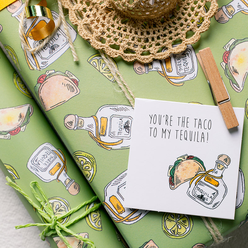 When Taco Met Tequilla For the First Time - Wrapping Paper Sheets & Gift Cards (Set of 10)
