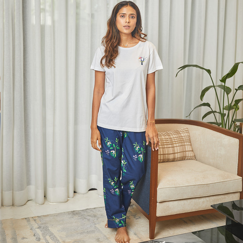 Dandelion -Navy-  Printed Cotton - Toucan Bird - Pajama & T-shirt