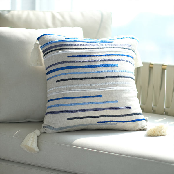 Embroidered Chenille Stitch Lines Linen Cushion  - Sea Shade