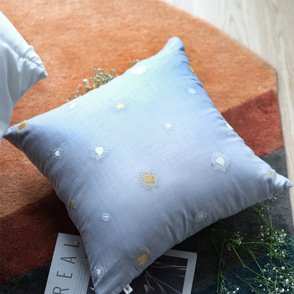 Burst Embroidered Linen Cushion - Ash