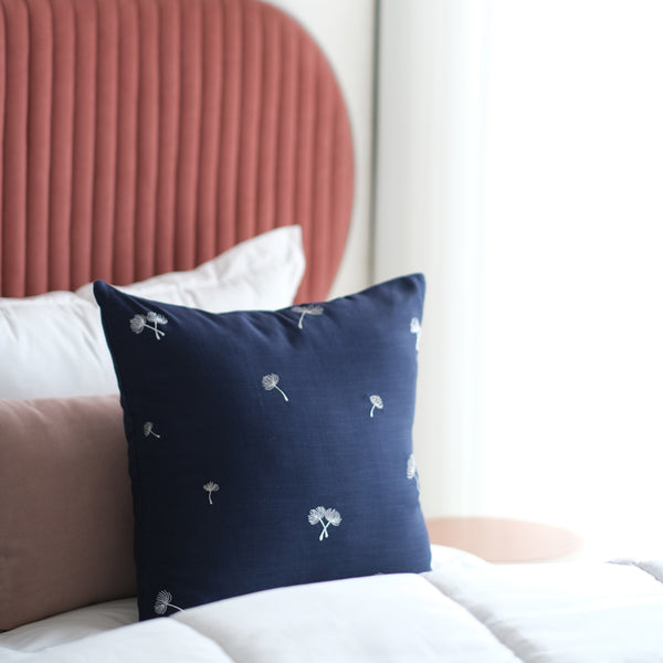 Sprig Embroidered Linen Cushion - Midnight