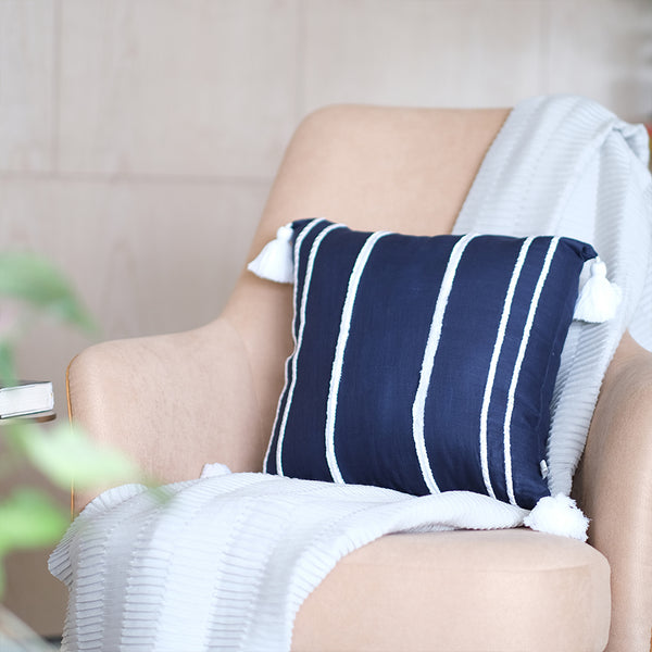 Embroidered Faraway Lines Linen Cushion - Midnight