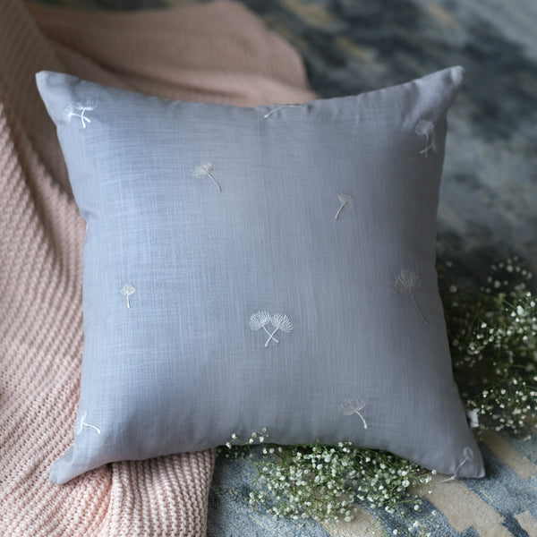 Sprig Embroidered Linen Cushion - Ash