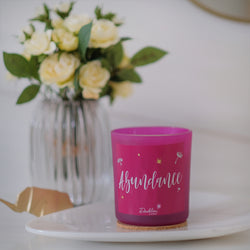 Our range of handcrafted soy candles come in bold jewel tones integrated with subtle yet distinct fragrances that manifest positivity and healing, making them an ideal gifting option for any loved one. Hand-poured into a fuchsia pink frosted glass, this lavender fields dream candle is a calming & revitalizing blend of sweet fresh lavender that helps induce sleep and calm.