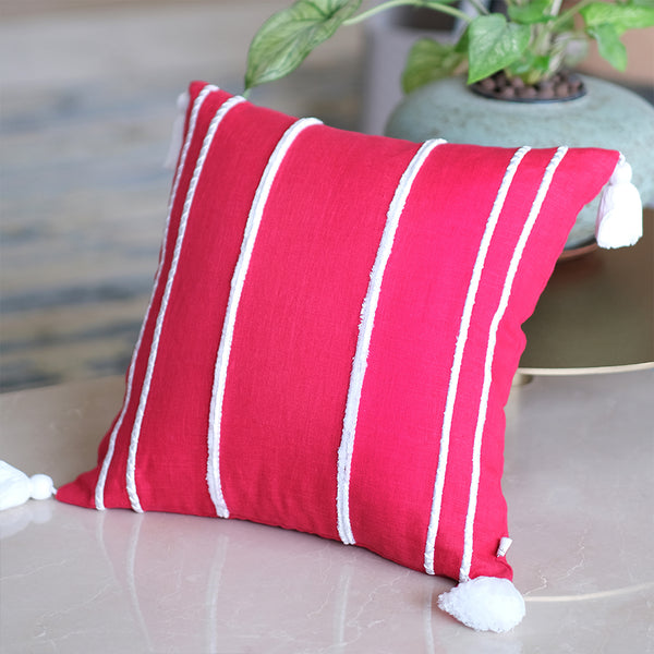 Embroidered Faraway Lines Linen Cushion - Fuchsia