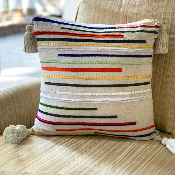 Embroidered Chenille Stitch Lines Linen Cushion  - Kaleidoscope