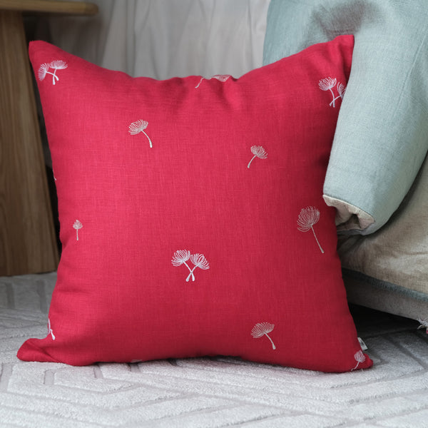 Sprig Embroidered Linen Cushion - Fuchsia