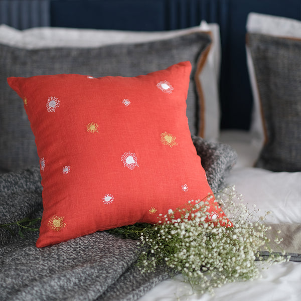 Burst Embroidered Linen Cushion - Amber