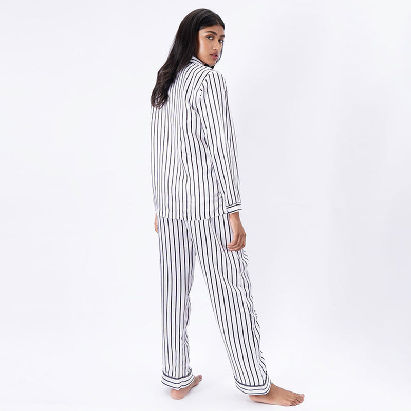Illusion Satin Notched Collar Pyjama Set