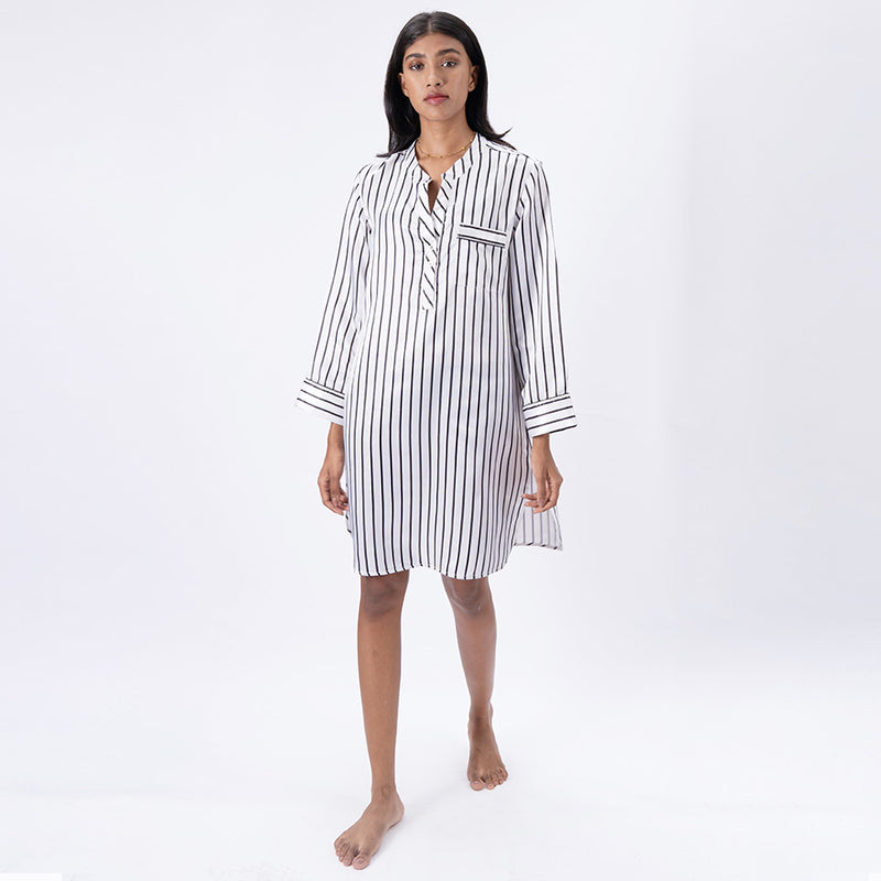 Women Satin Dip-Neck Sleepshirt
