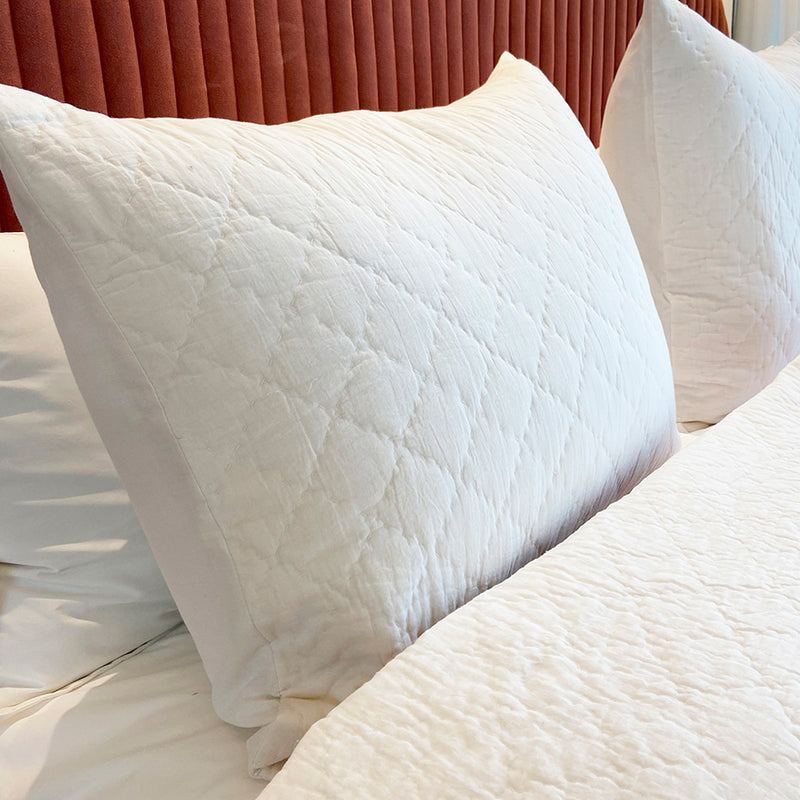 The Durkheim Quilted Pillow - Frost / White (Set of 2)