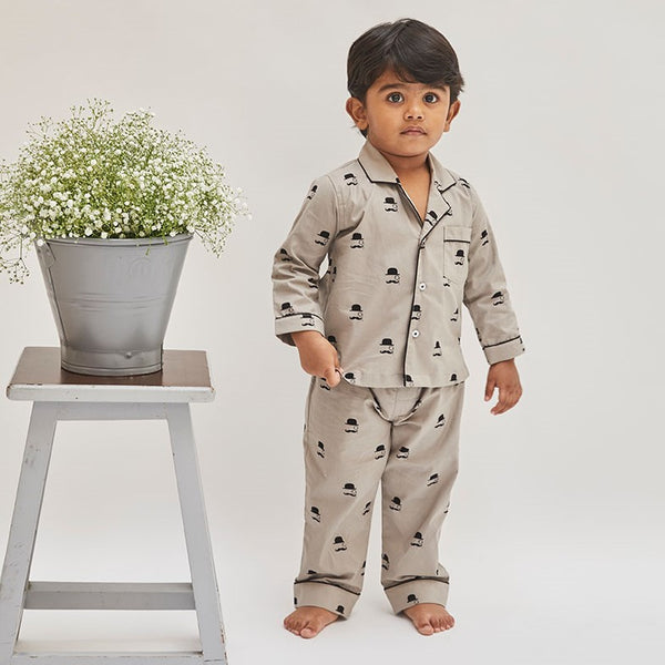 Dandelion -Cotton - Grey - Hat & Mustache - Kids Pajama Sets
