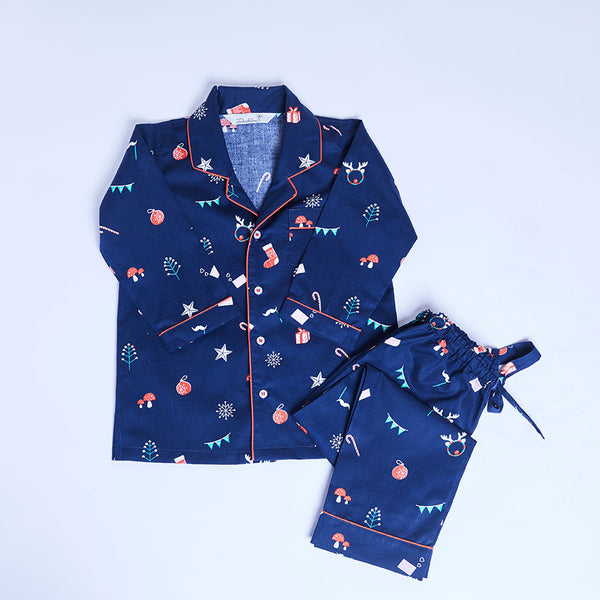 Girl Cotton Notched Collar Pyjama Set