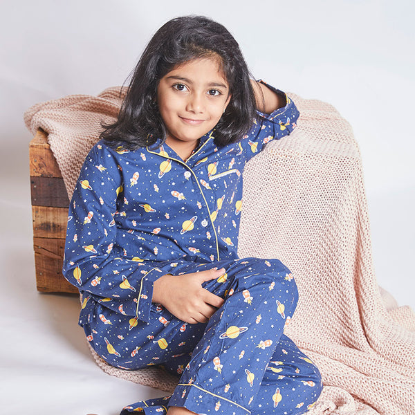 Baby Girl Cotton Notched Collar Pyjama Set