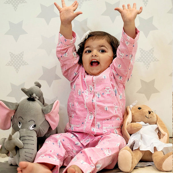 Dandelion- Cotton - Pink - Sheep - Kids Pajama Set