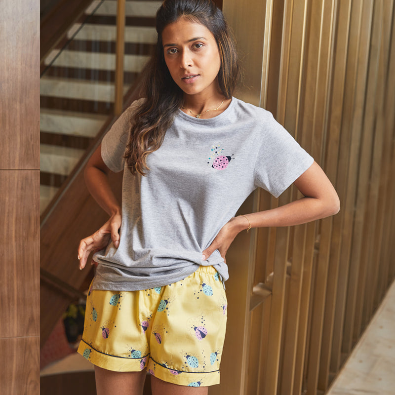 Dandelion -Yellow - Printed Cotton - Lady birds - Shorts & T-shirts