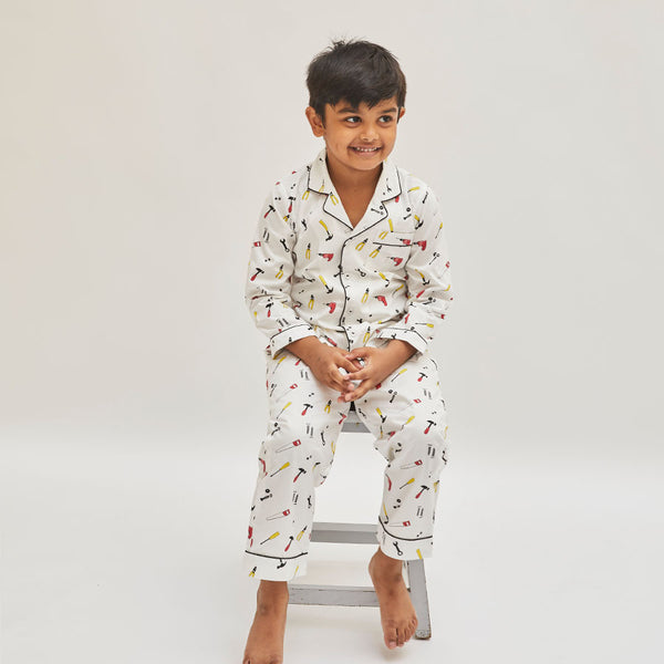 Boy Cotton Notched Collar Pyjama Set