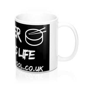 """RHYTHM IS LIFE"" - Presto Music Drummer 1 Mug 11oz"