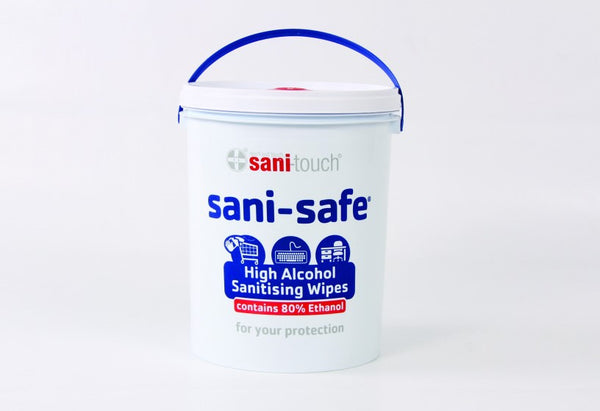 SANITOUCH Sani-Safe 1000 sheet 5l buckets - 80% alcohol sanitising wipes