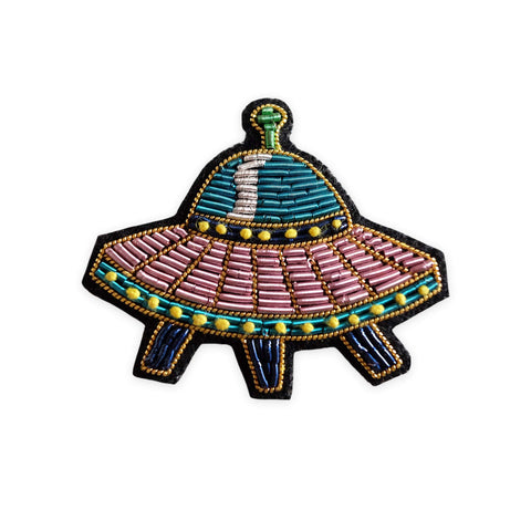 Spaceship Embroidered Bullion Pin