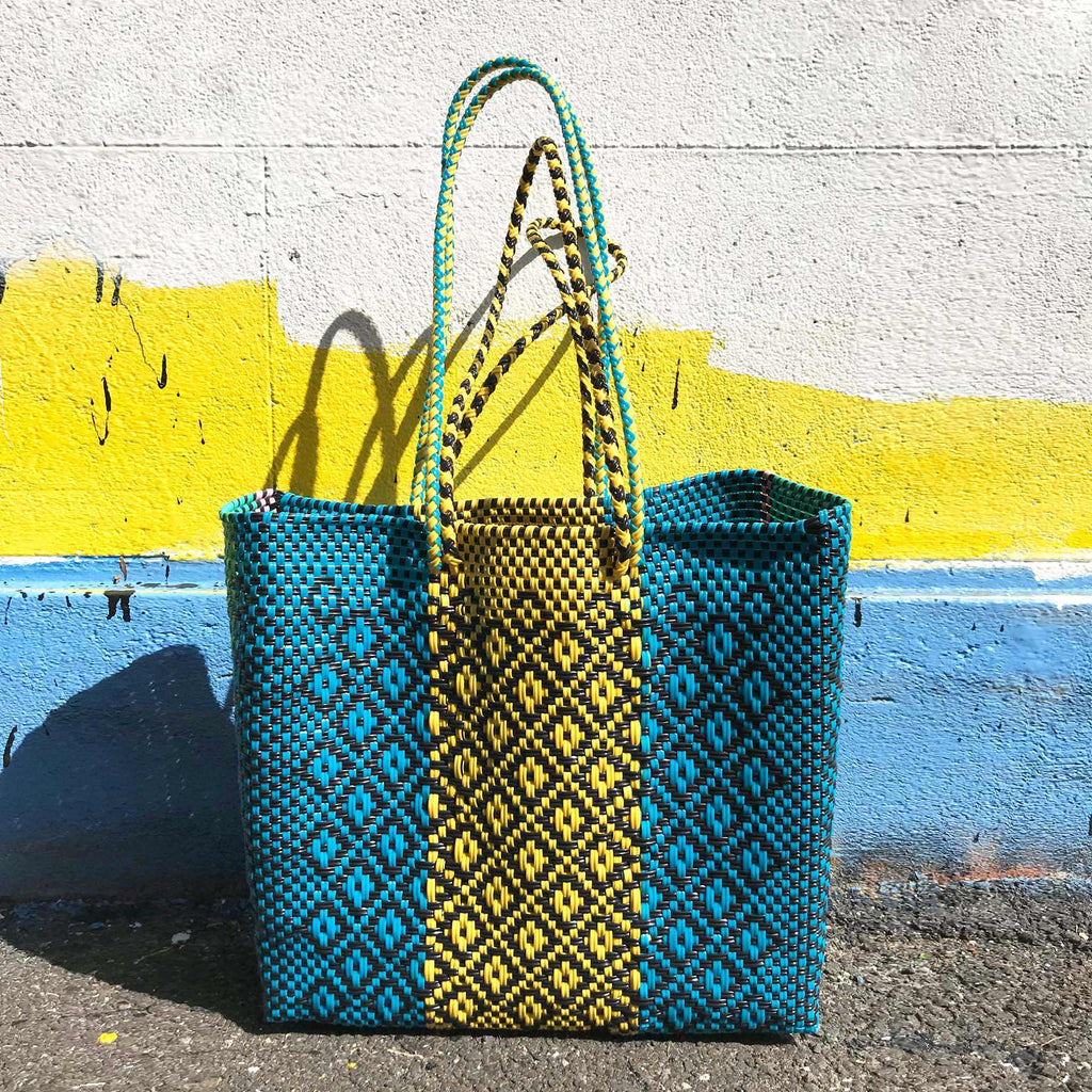 Yellow & Blue Tone Woven Basket Bag – Medium