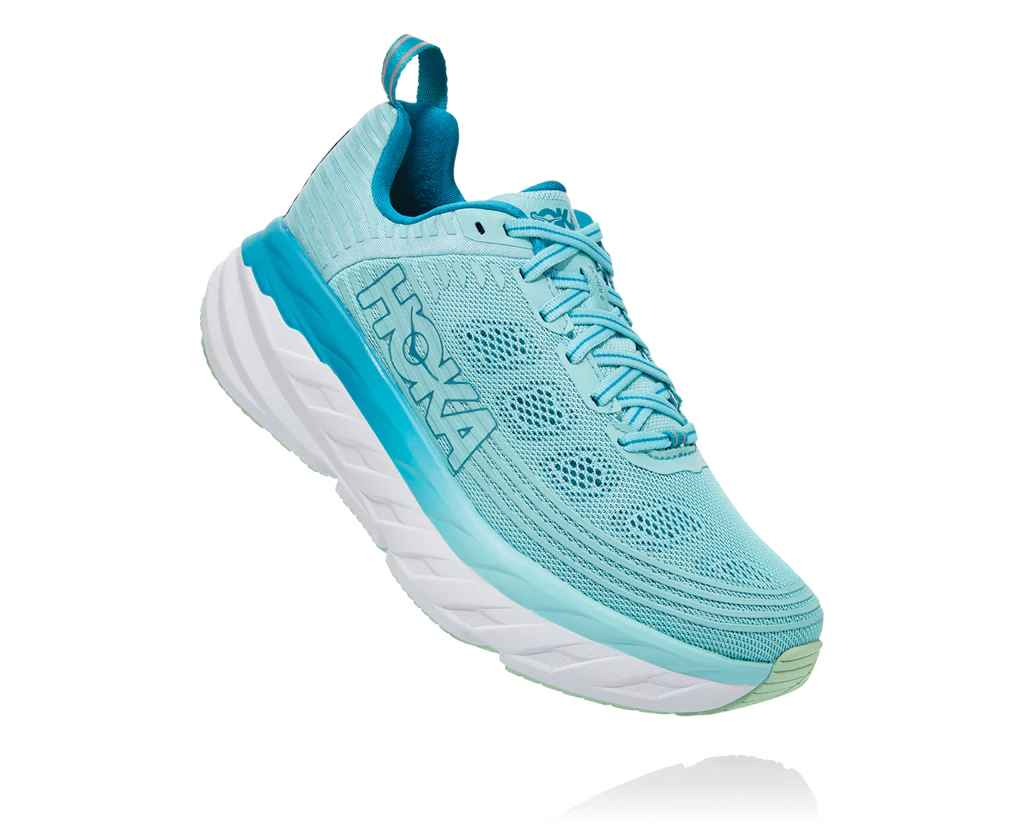 HOKA WOMENS BONDI 6 ANTIGUA SAND / CARIBBEAN SEA