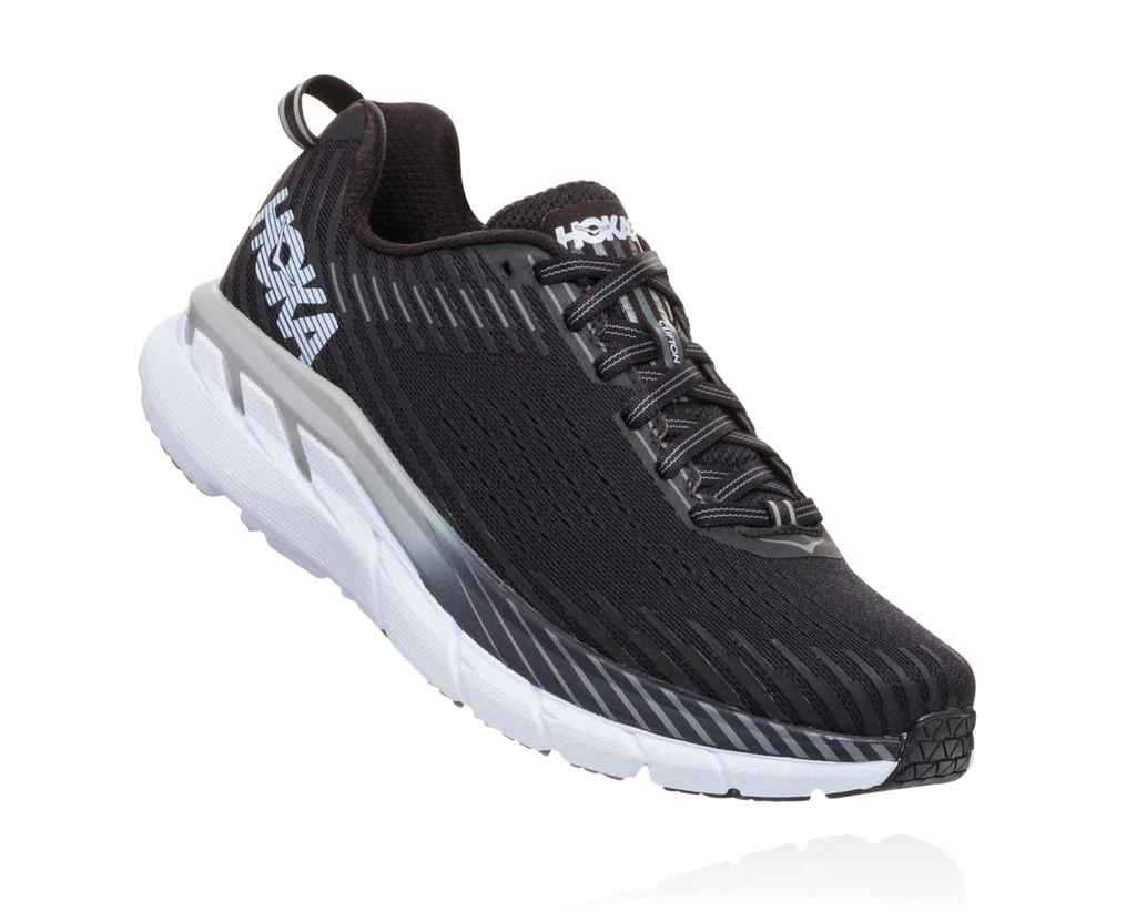 HOKA MENS CLIFTON 5 BLACK / WHITE