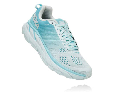 HOKA WOMENS CLIFTON 6 ANTIGUA SAND / WAN BLUE