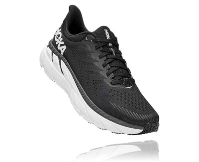 HOKA MENS CLIFTON 7 BLACK / WHITE