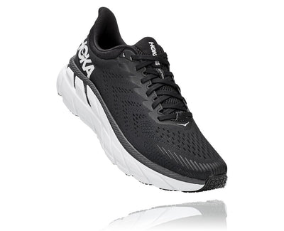 HOKA MENS CLIFTON 7 BLACK / WHITE WIDE