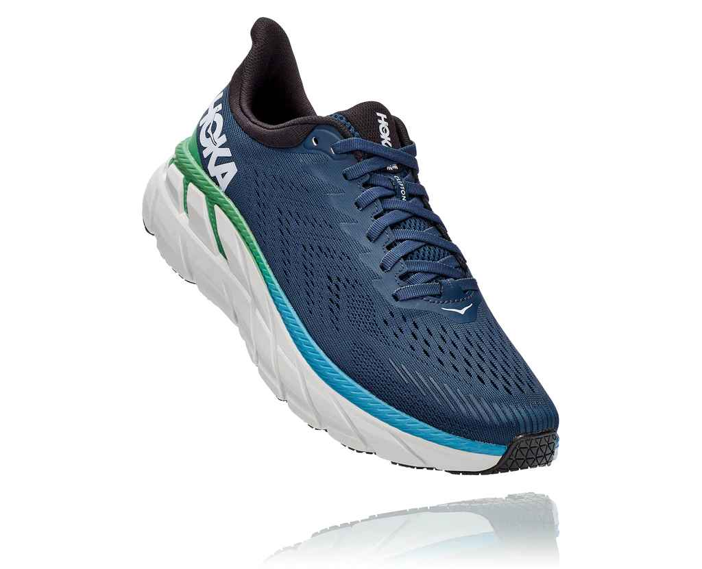 HOKA MENS CLIFTON 7 MOONLIT OCEAN / ANTHRACITE WIDE