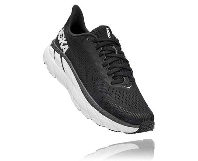 HOKA WOMENS CLIFTON 7 BLACK / WHITE WIDE