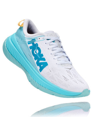 HOKA WOMENS CARBON X WHITE / ANGEL BLUE