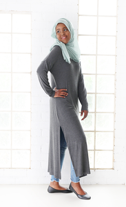 SPLIT TUNIC - CHARCOAL MARBLE - NOW $25