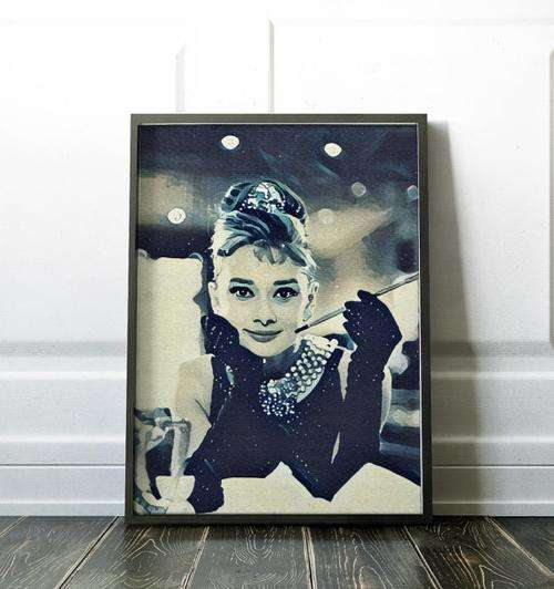 Audrey Hepburn Tiffany Movie Poster Art Canvas - Orly's