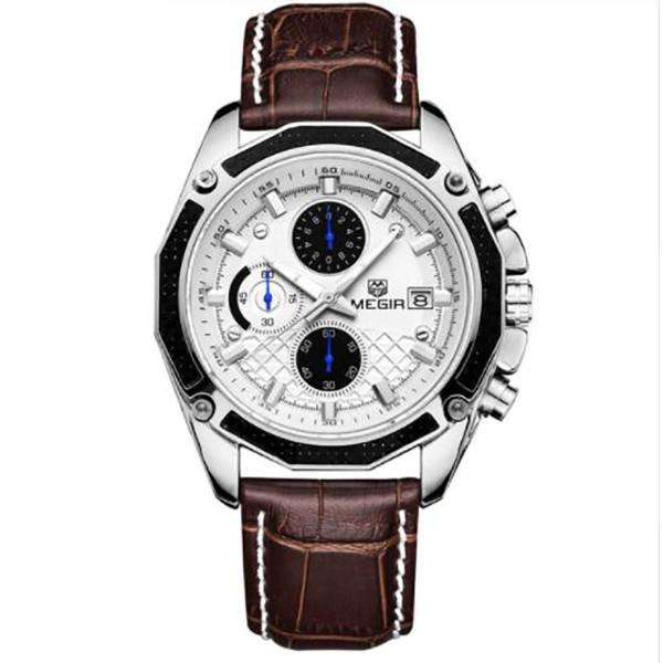 Men Watches Fashion Genuine Leather Chronograph Watch Clock for Gentle Men - Orly's