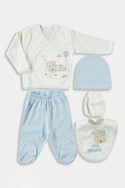 Blue Bear in The Clouds Print Newborn Girl Set - SinglePrice