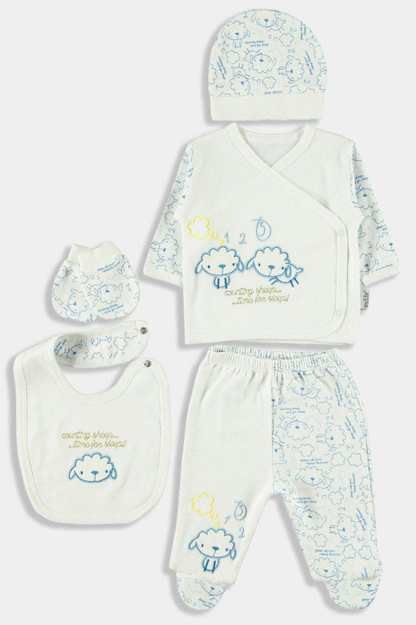 5 Piece Blue Sheep Print Newborn Girl Set - SinglePrice