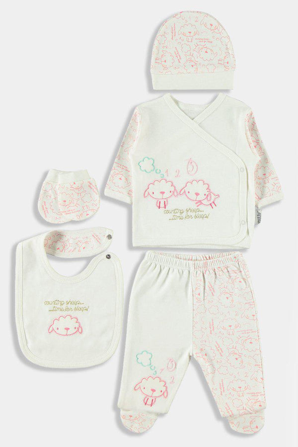 5 Piece Pink Sheep Print Newborn Girl Set - SinglePrice