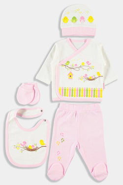 Yellow Birds Print Pink 5 Piece Unisex Newborn Set - SinglePrice