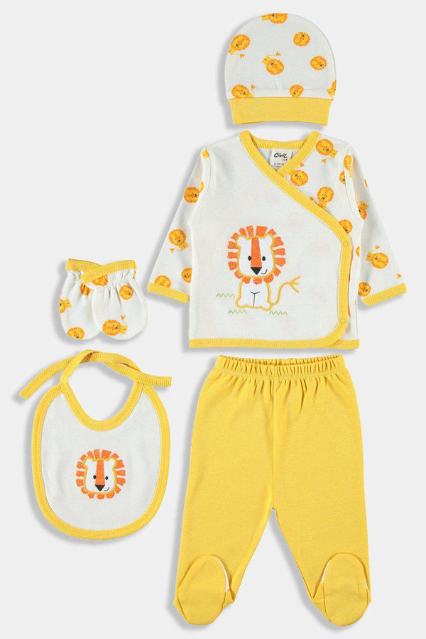 5 Piece Newborn Baby Boy Yellow Lion Set - SinglePrice