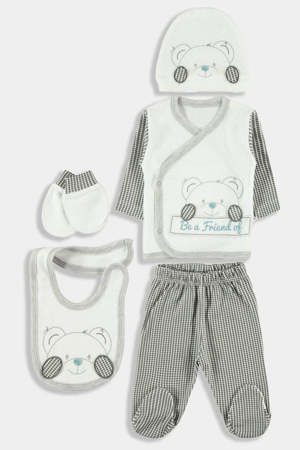 Dark Grey Friendly Bear 5 Piece Newborn Boy Set - SinglePrice