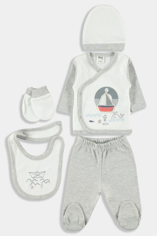 Grey Nautical Print 5 Piece Newborn Boy Set - SinglePrice