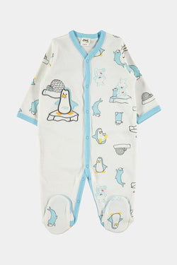 100% Cotton Turquoise Penguins Embroidery Newborn Baby Grow - SinglePrice