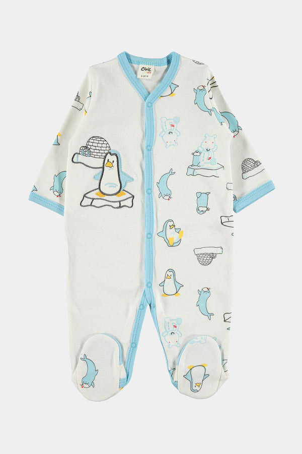 100% Cotton Turquoise Penguins Embroidery Newborn Baby Grow-SinglePrice