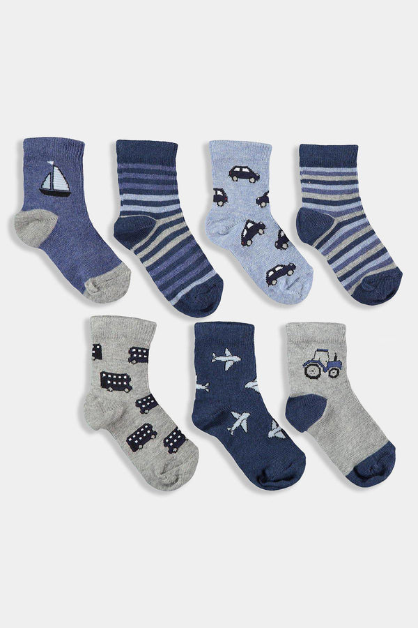 7 Pack Blue Grey Kids Boys Socks - SinglePrice