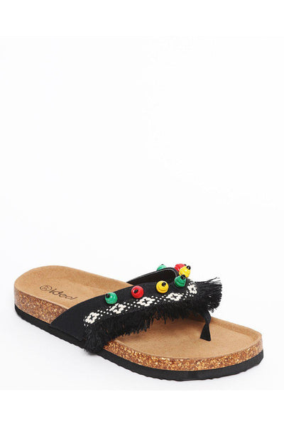 Black Cork Platform Fringed Boho Sandals-SinglePrice